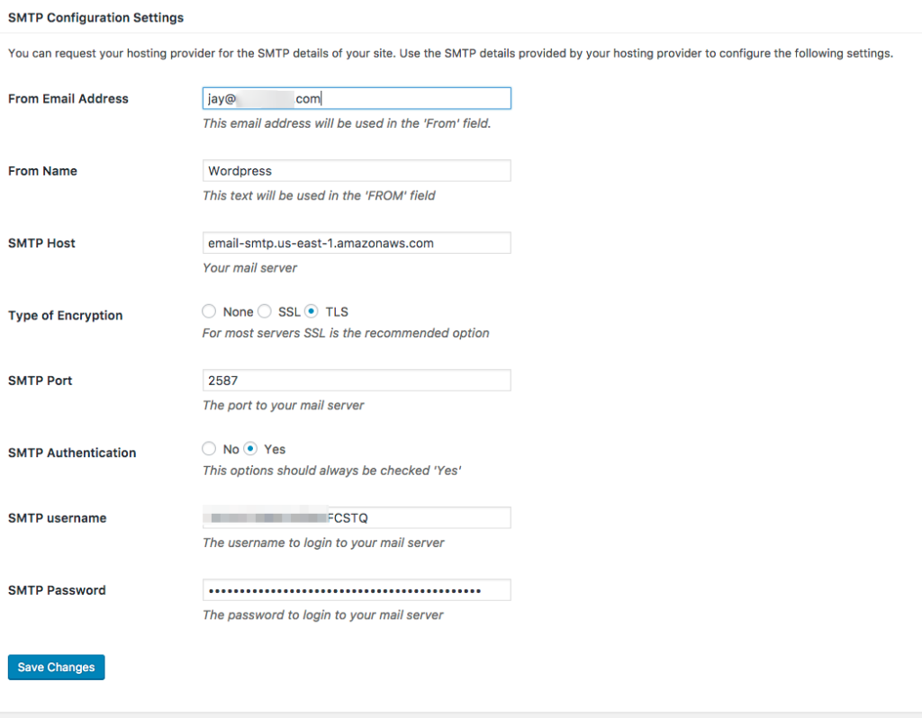 Configure the SMTP plugin